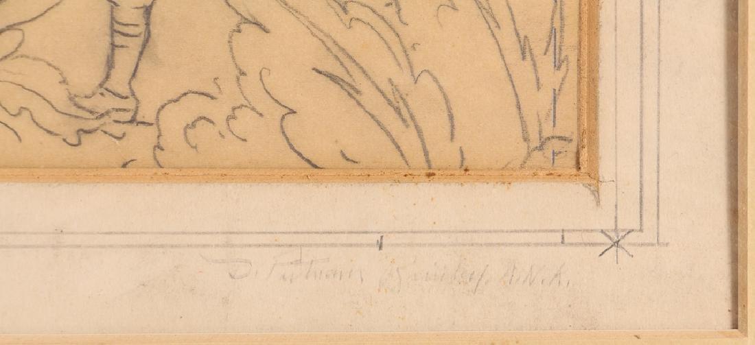 Daniel Putnam Brinley pencil drawing 19th C. Baseball - 3