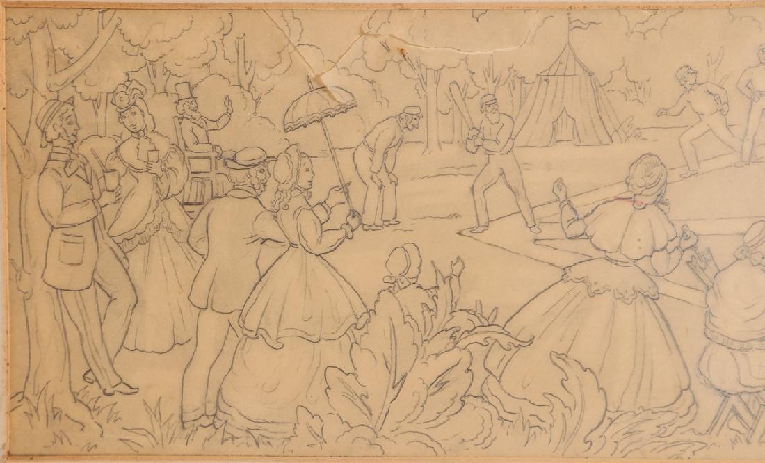 Daniel Putnam Brinley pencil drawing 19th C. Baseball - 4