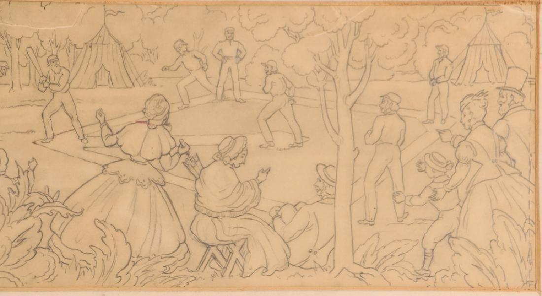 Daniel Putnam Brinley pencil drawing 19th C. Baseball - 5