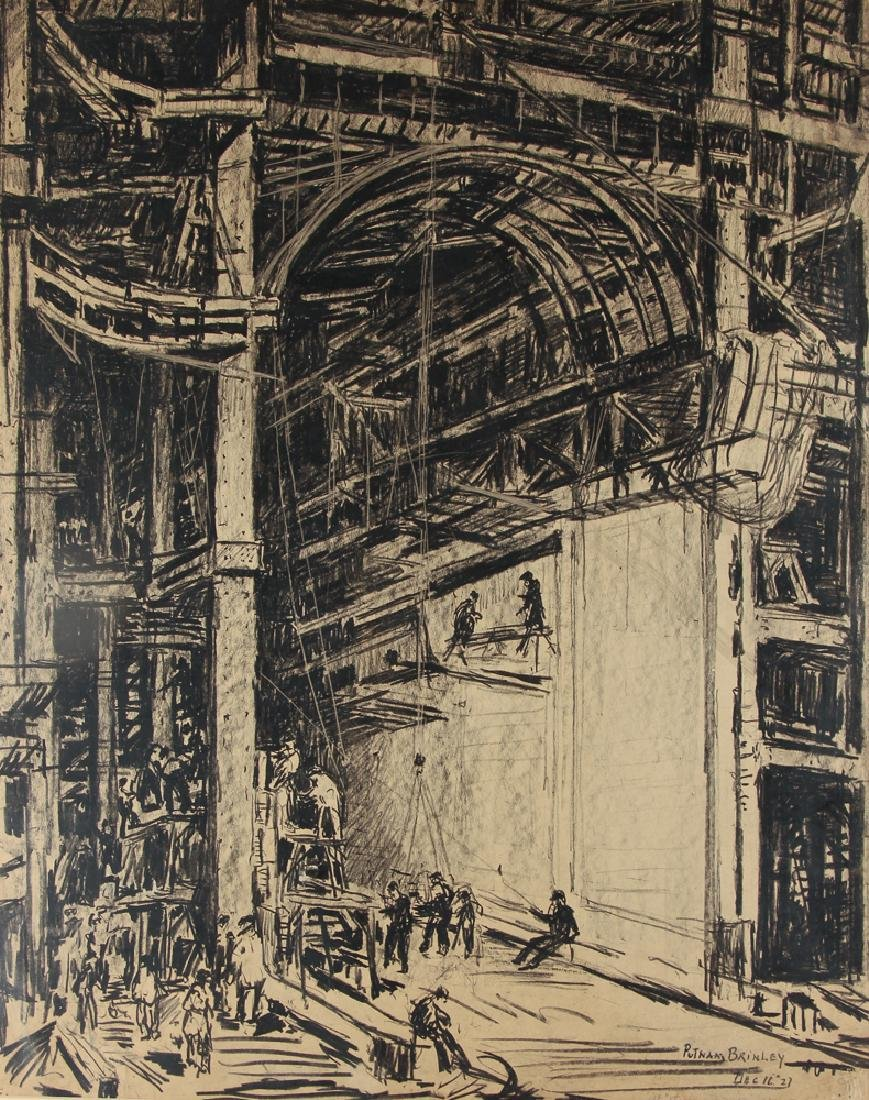 Daniel Putnam Brinley charcoal of 1927 Railroad