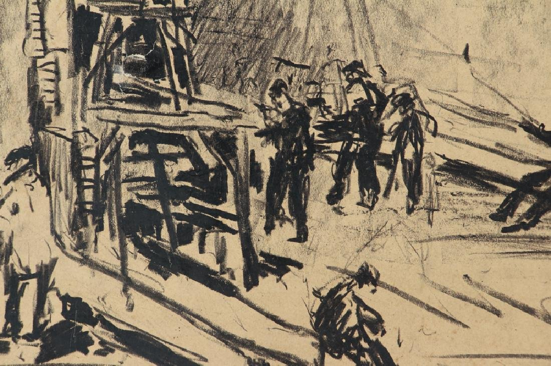 Daniel Putnam Brinley charcoal of 1927 Railroad - 4