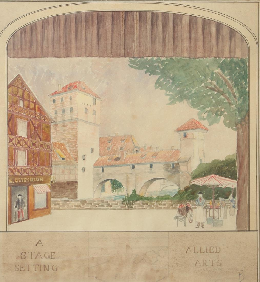Daniel Brinley Watercolor Stage Setting for Allied Arts
