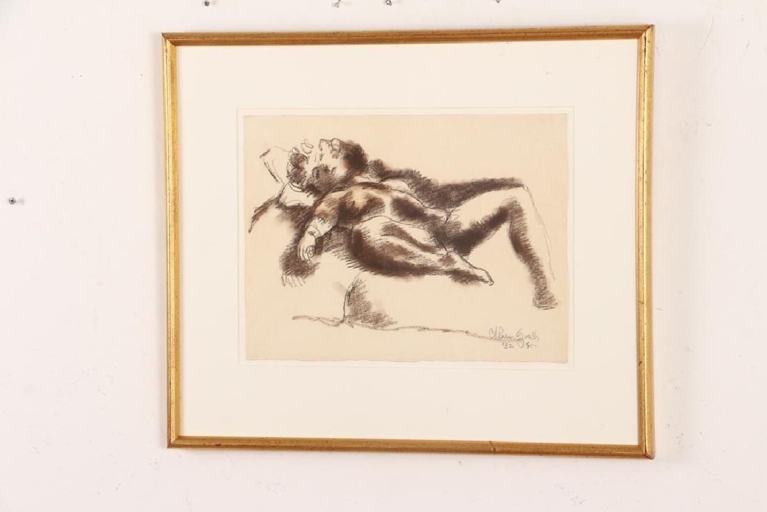 Chaim Gross 1932 drawing Reclining Nude - 3