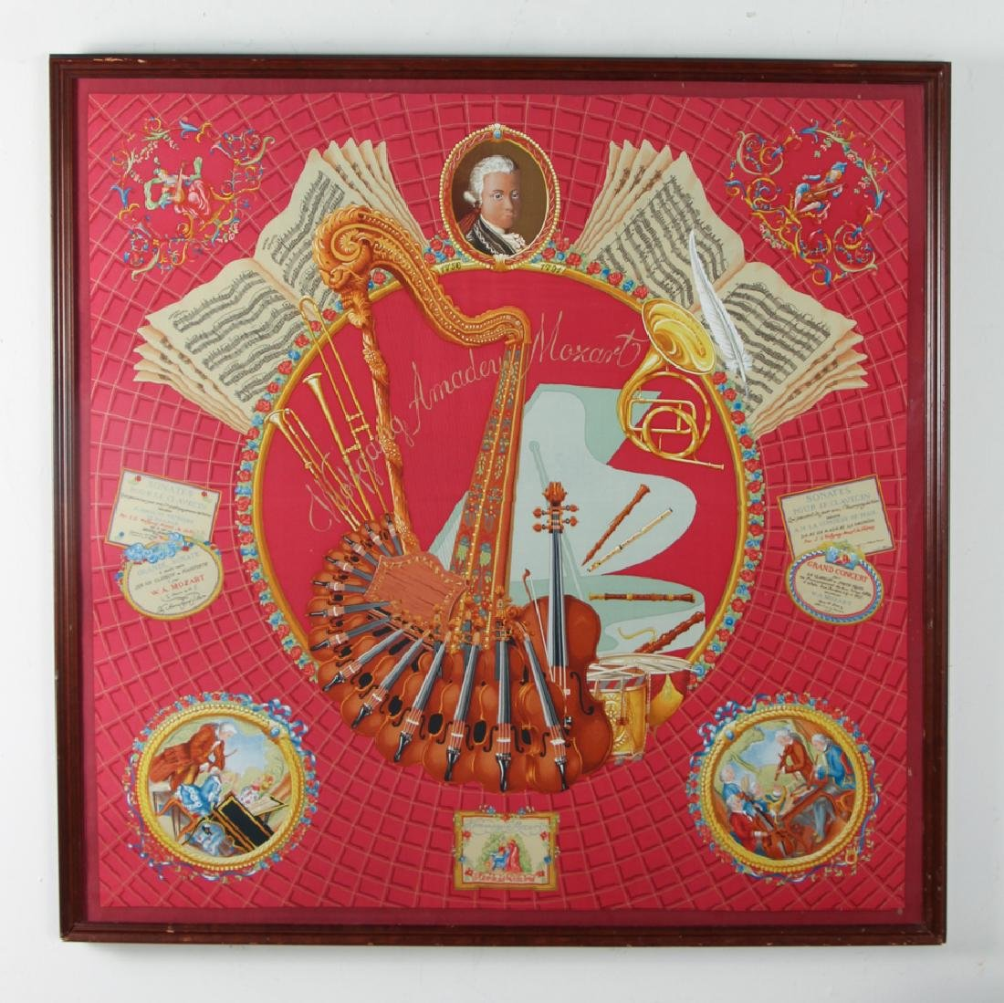 Framed Hermes Silk Scarf Mozart Theme - 2