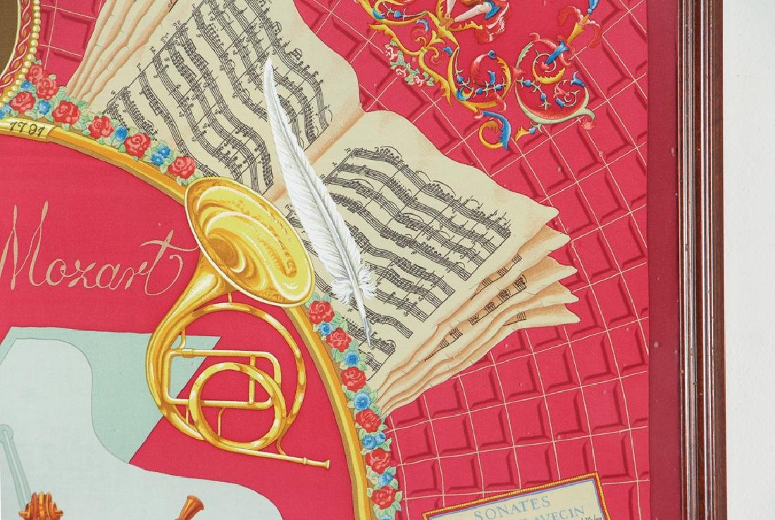 Framed Hermes Silk Scarf Mozart Theme - 9
