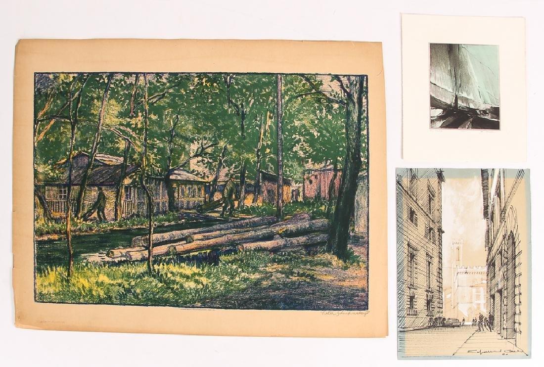 3 Assorted Landscapes on Paper: Schufinsky, Capanni, &