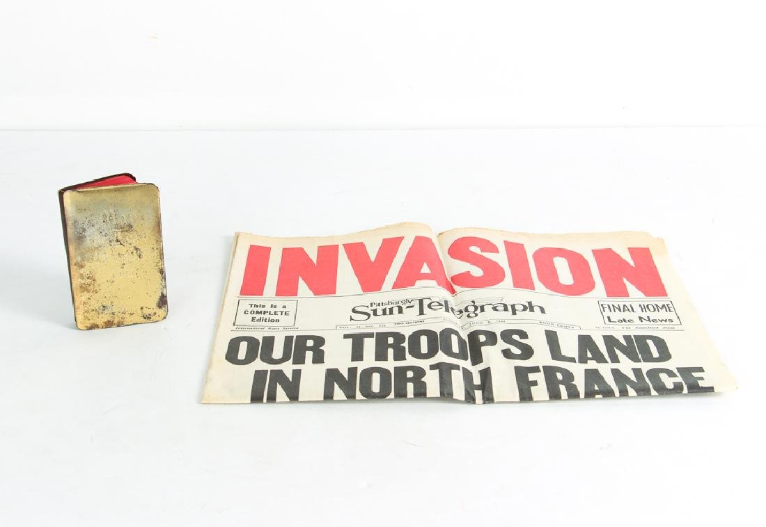 World War 2 Steel Covered Bible and Normandy Invasion