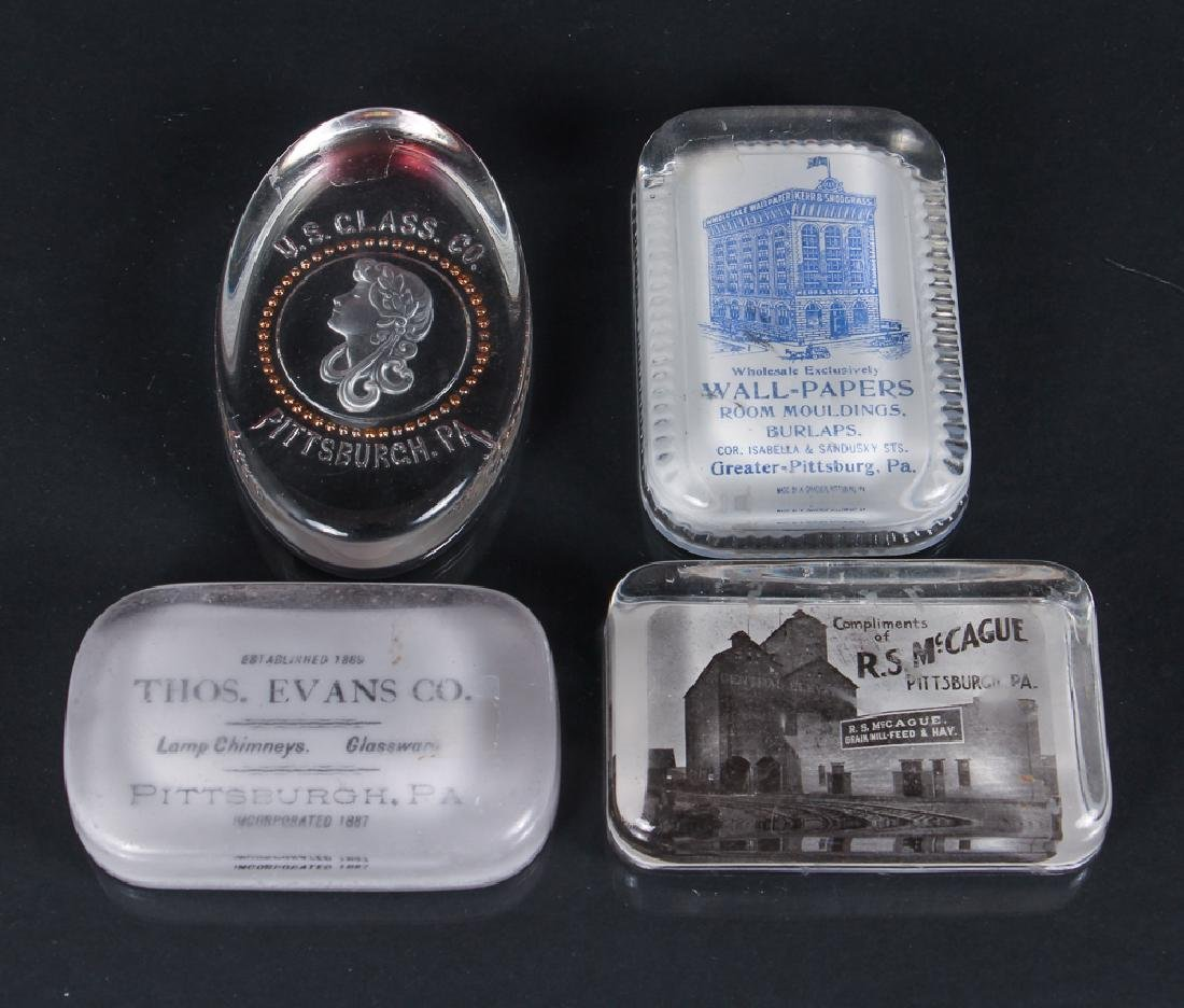 Four Glass Pittsburgh Related Paperweights