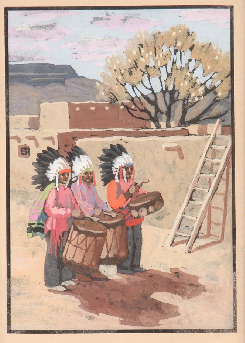 Watercolor of Native American and Adobe