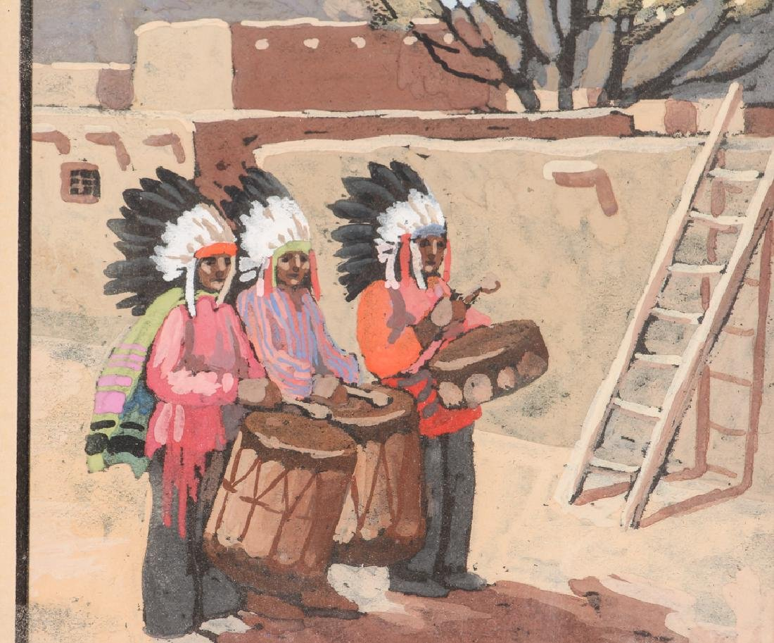 Watercolor of Native American and Adobe - 3