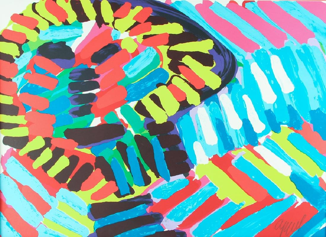 Karel Appel 1980 signed litho Colorful Face in The Rain