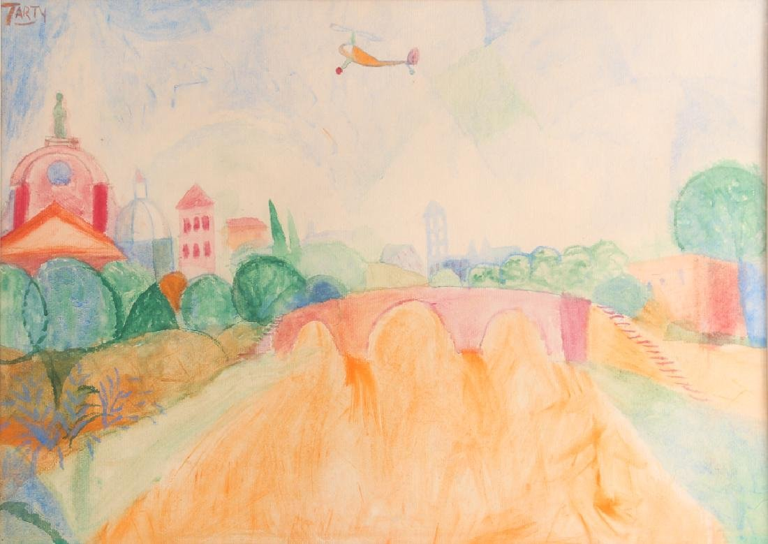 Vincent Tarty watercolor Helicopter over European
