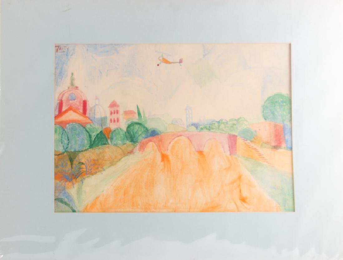 Vincent Tarty watercolor Helicopter over European - 2