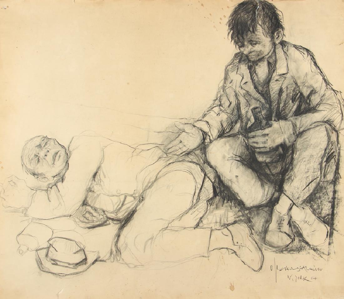 Oskar D'Amico charcoal drawing 2 Street People NY 1964