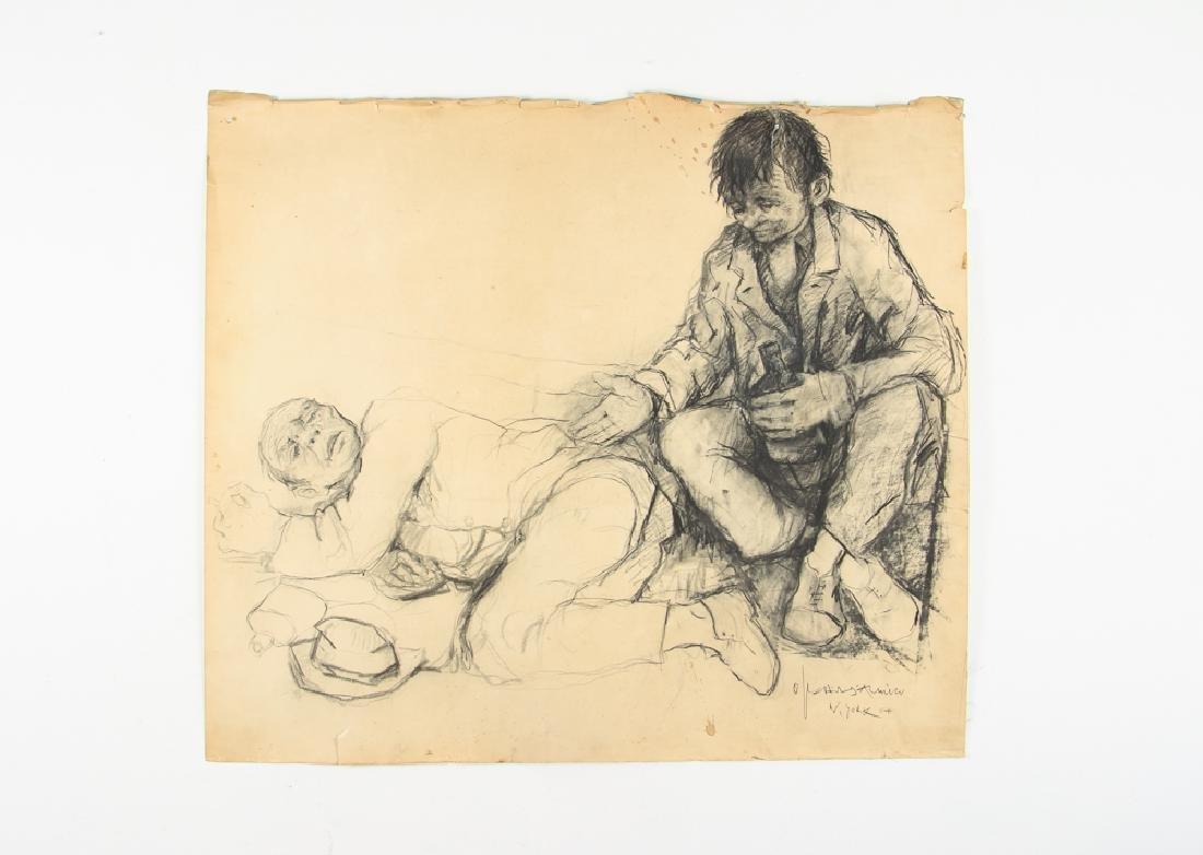 Oskar D'Amico charcoal drawing 2 Street People NY 1964 - 2