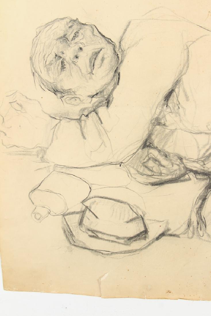 Oskar D'Amico charcoal drawing 2 Street People NY 1964 - 5