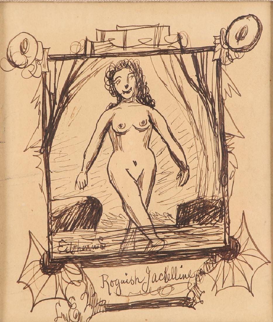Louis Eilshemius ink drawing Roguish Jackelline