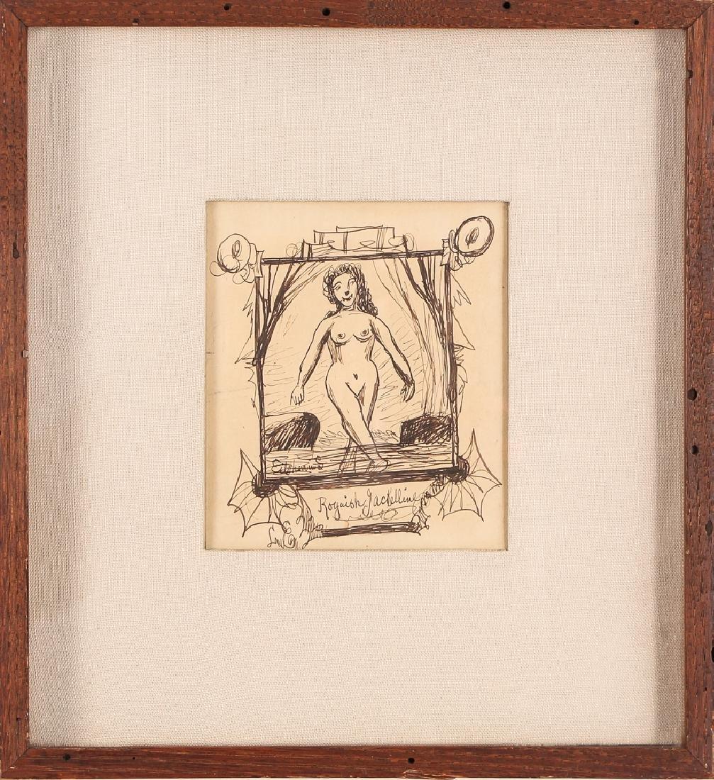 Louis Eilshemius ink drawing Roguish Jackelline - 2
