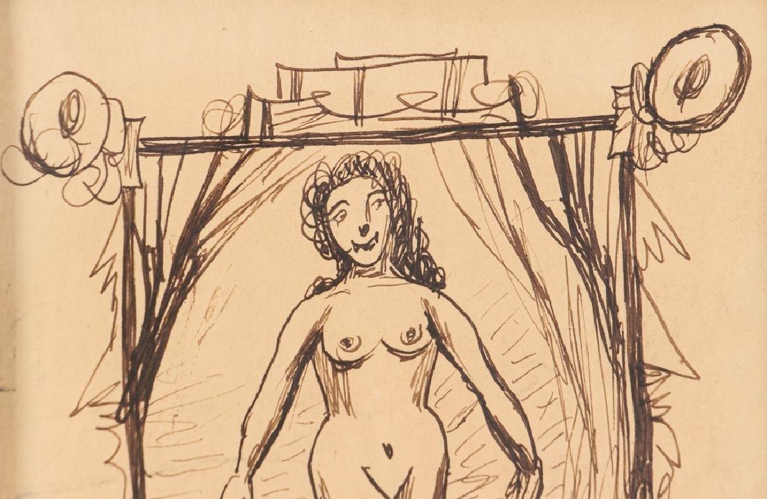 Louis Eilshemius ink drawing Roguish Jackelline - 3