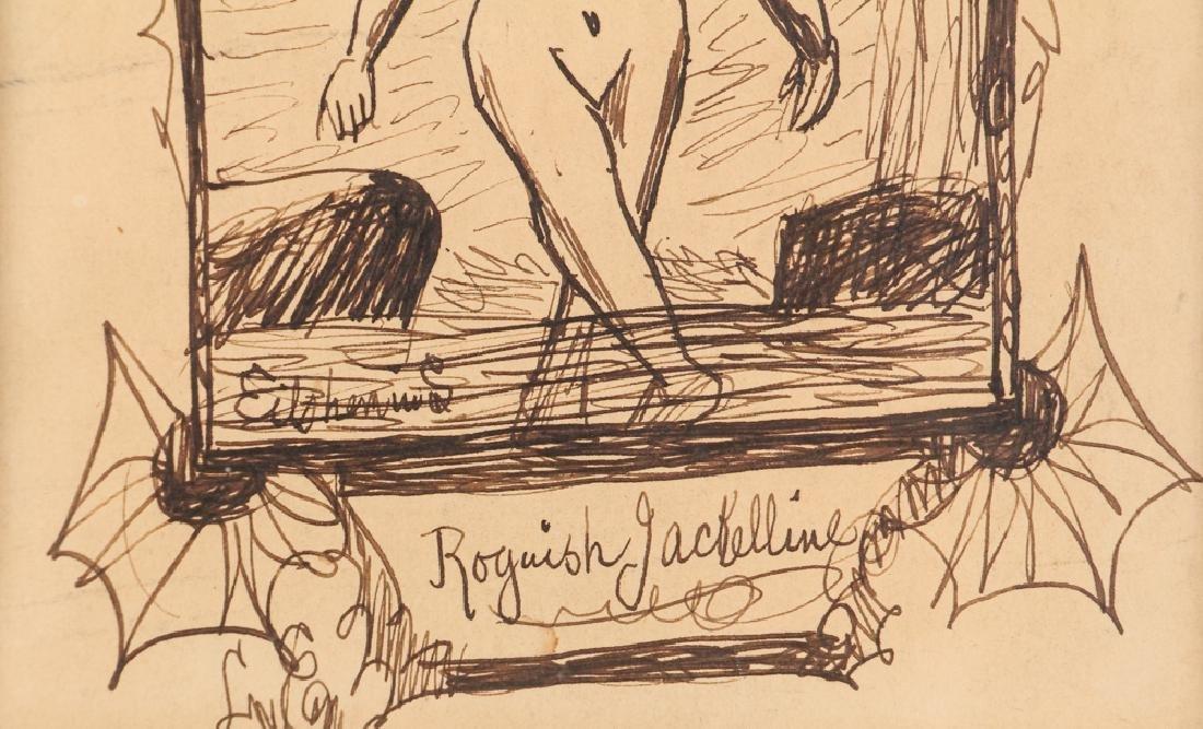 Louis Eilshemius ink drawing Roguish Jackelline - 4