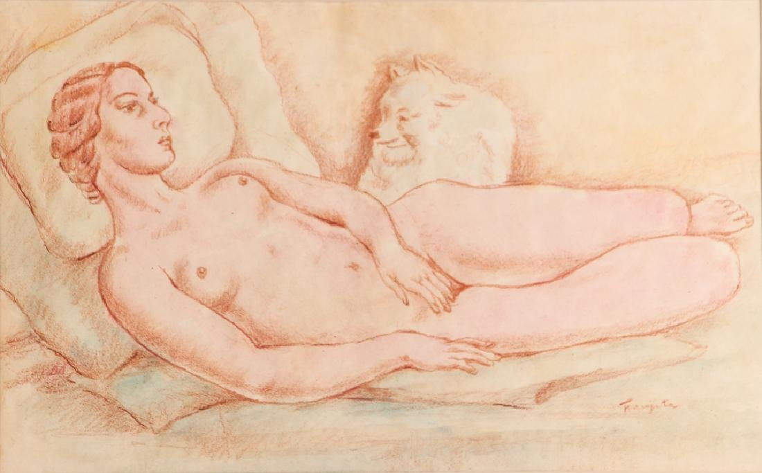 20th Century Modern Reclining Nude with Dog