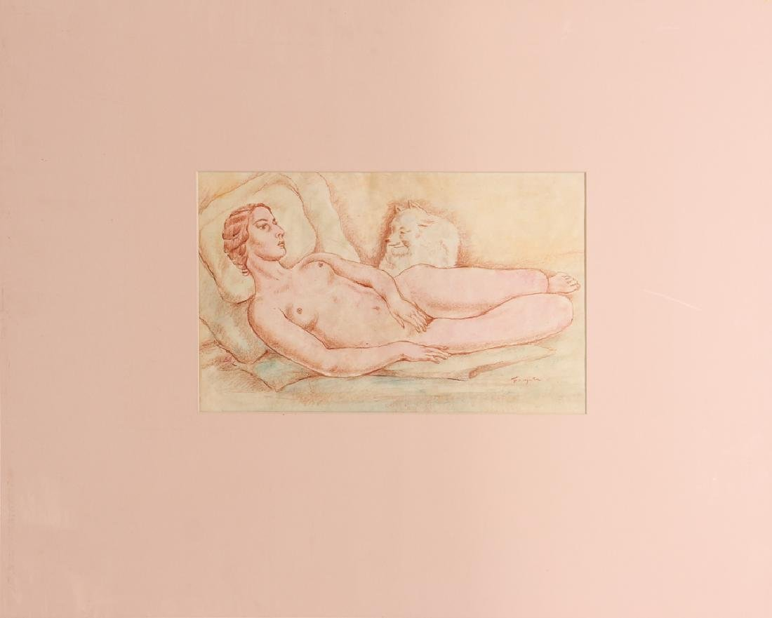 20th Century Modern Reclining Nude with Dog - 2