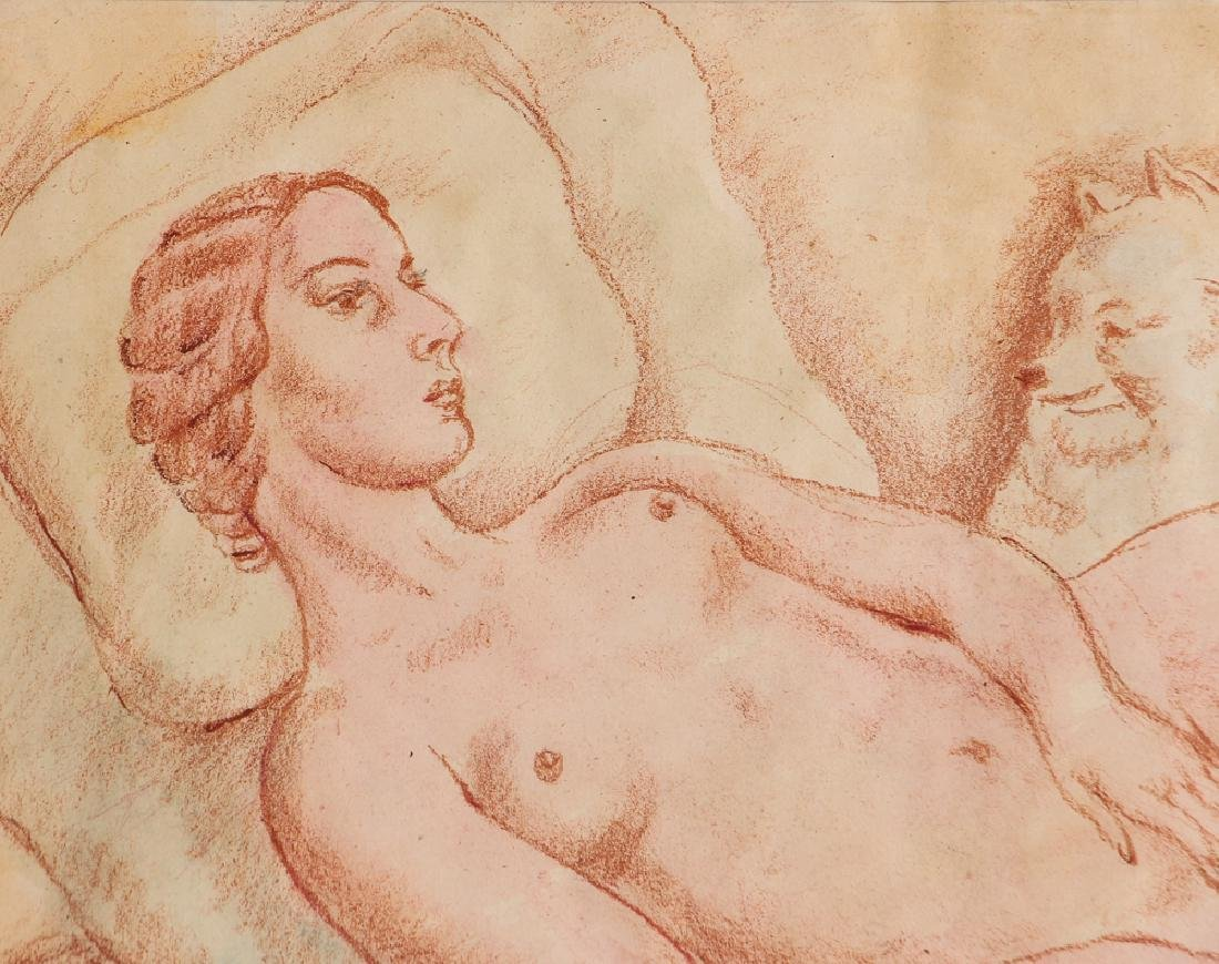 20th Century Modern Reclining Nude with Dog - 4