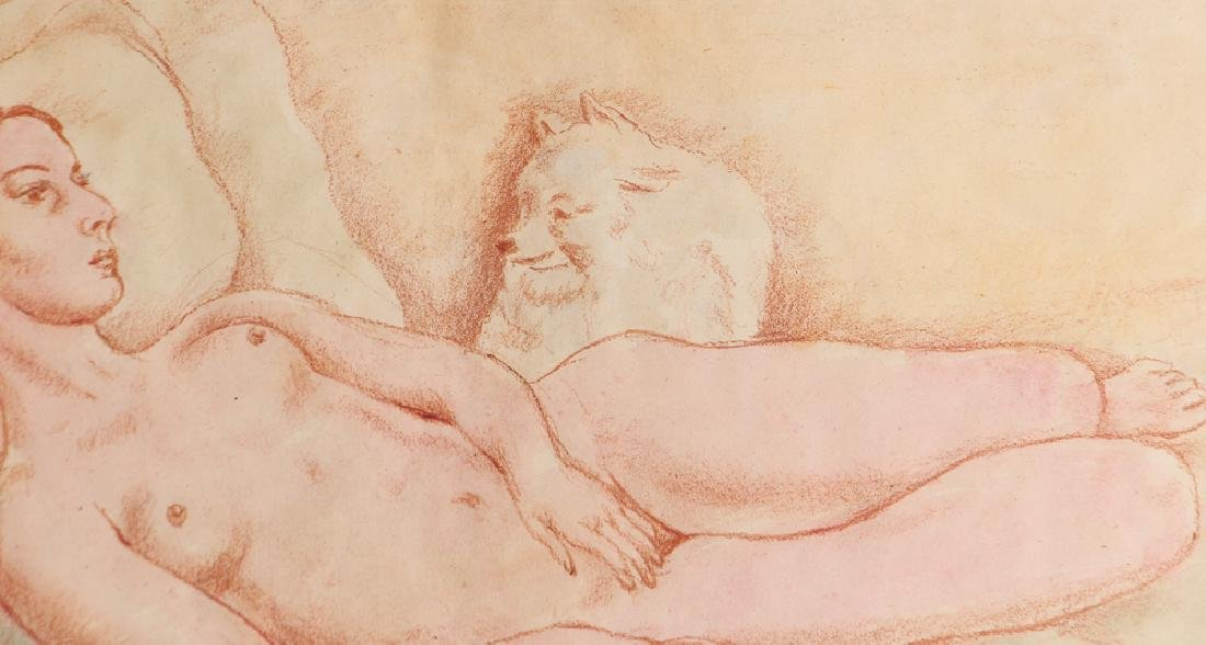 20th Century Modern Reclining Nude with Dog - 5