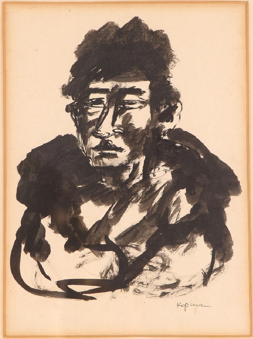 2 Benjamin Kopman ink drawings Seated Boy and Woman