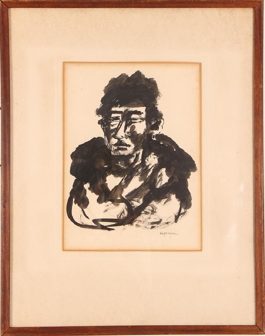 2 Benjamin Kopman ink drawings Seated Boy and Woman - 2