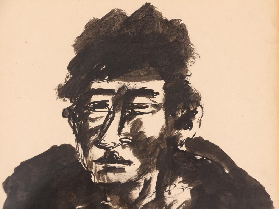 2 Benjamin Kopman ink drawings Seated Boy and Woman - 4