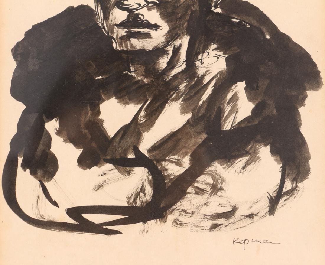 2 Benjamin Kopman ink drawings Seated Boy and Woman - 5