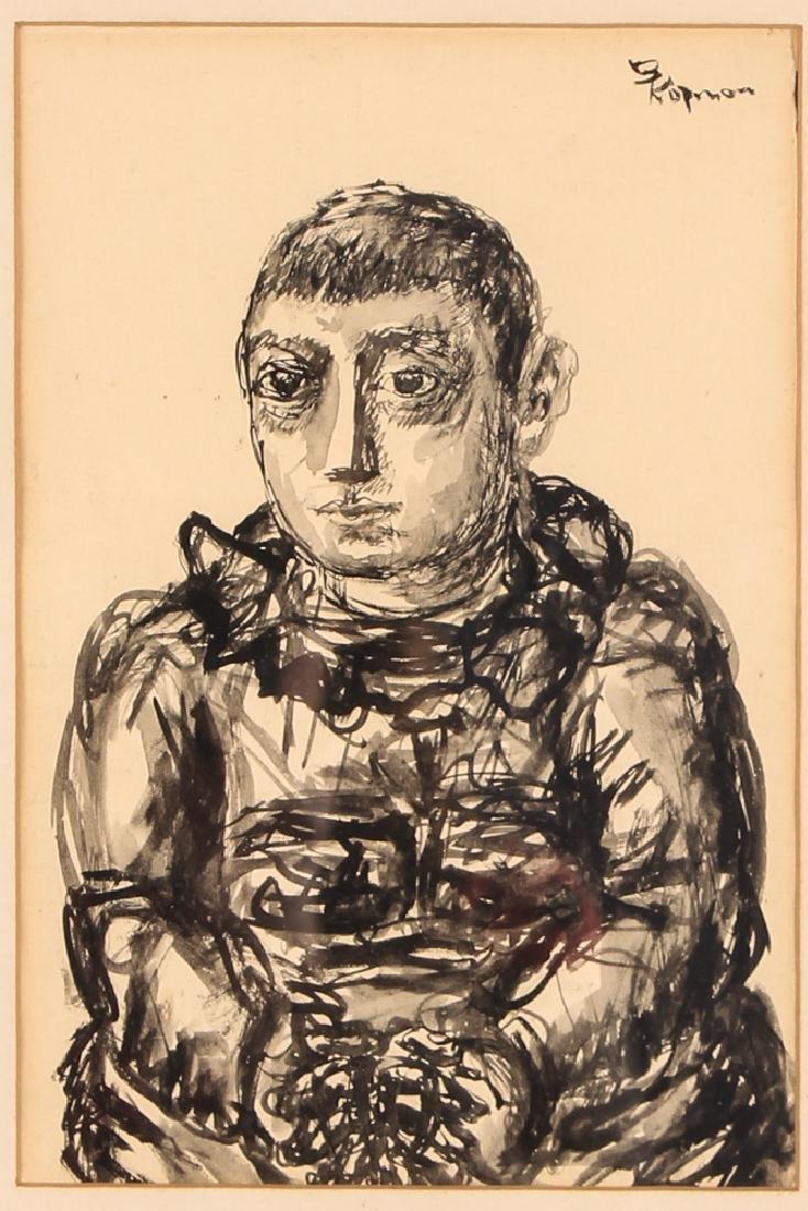 2 Benjamin Kopman ink drawings Seated Boy and Woman - 6