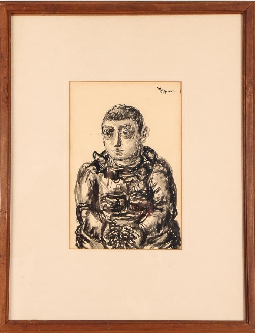 2 Benjamin Kopman ink drawings Seated Boy and Woman - 7