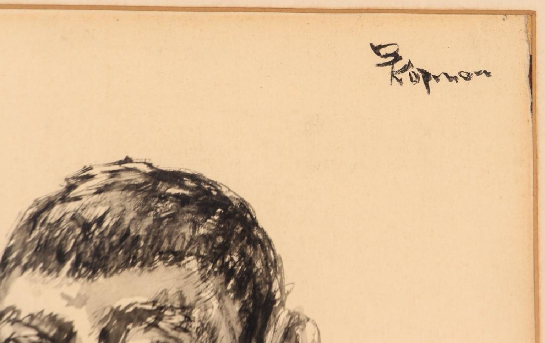 2 Benjamin Kopman ink drawings Seated Boy and Woman - 8