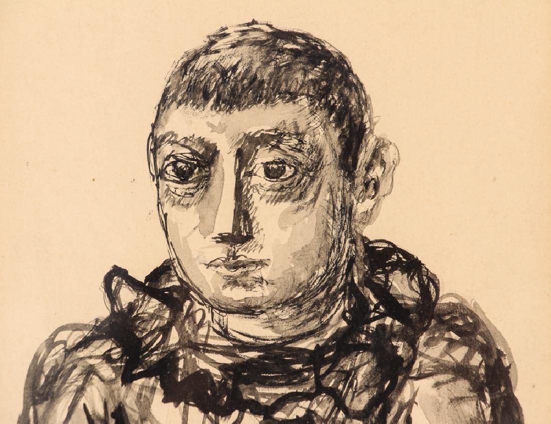 2 Benjamin Kopman ink drawings Seated Boy and Woman - 9