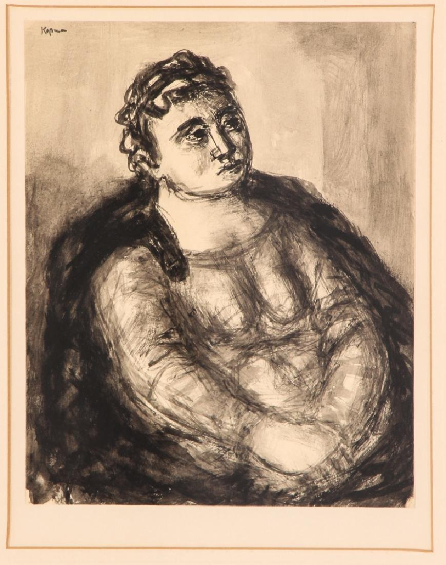 Benjamin Kopman ink wash drawing Seated Lady