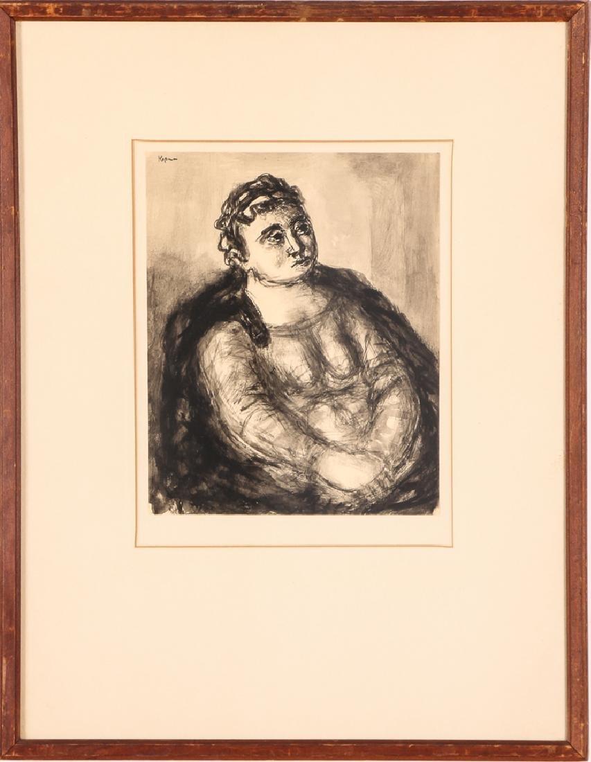 Benjamin Kopman ink wash drawing Seated Lady - 2