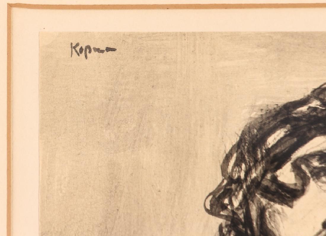 Benjamin Kopman ink wash drawing Seated Lady - 3