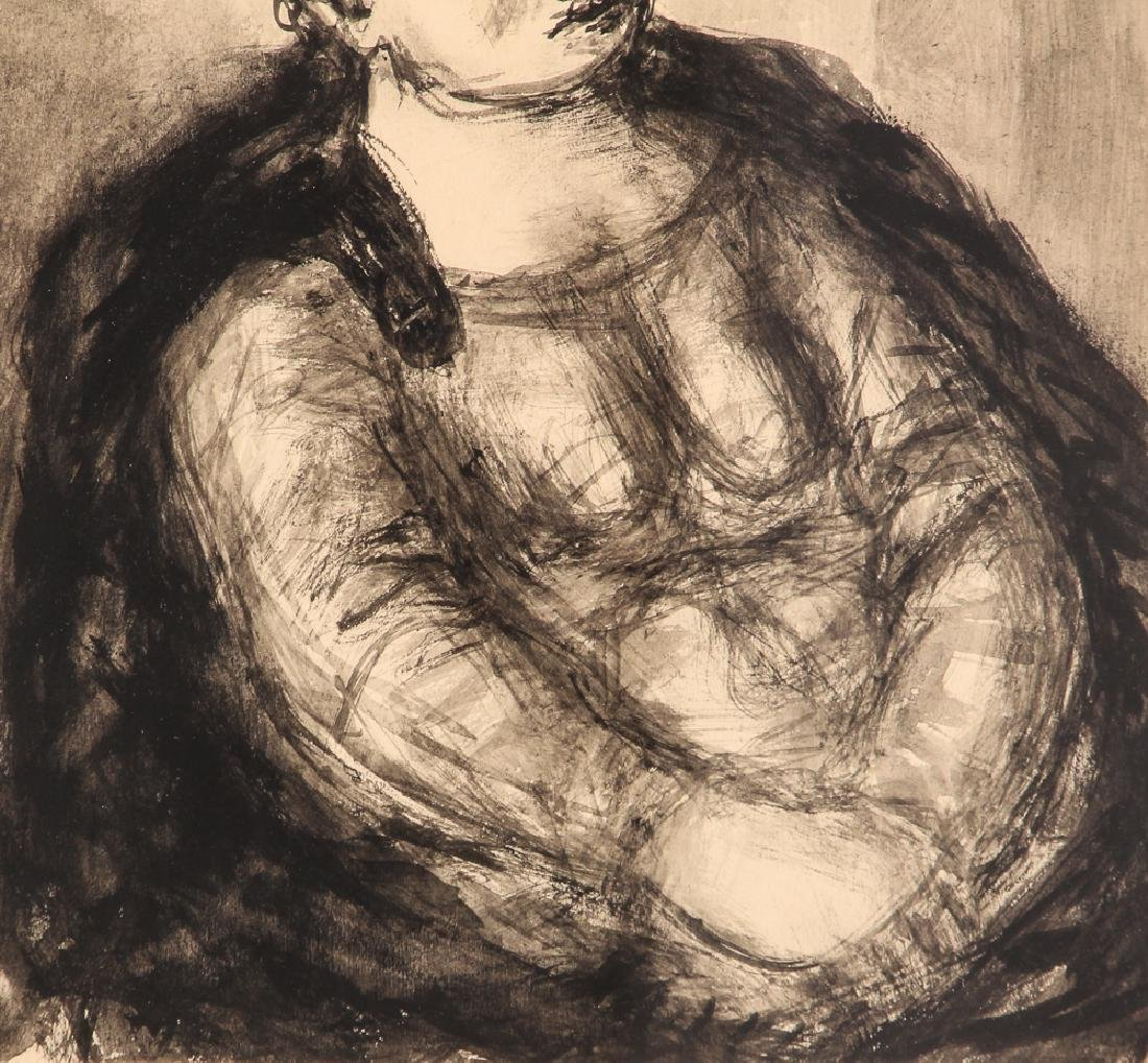 Benjamin Kopman ink wash drawing Seated Lady - 5