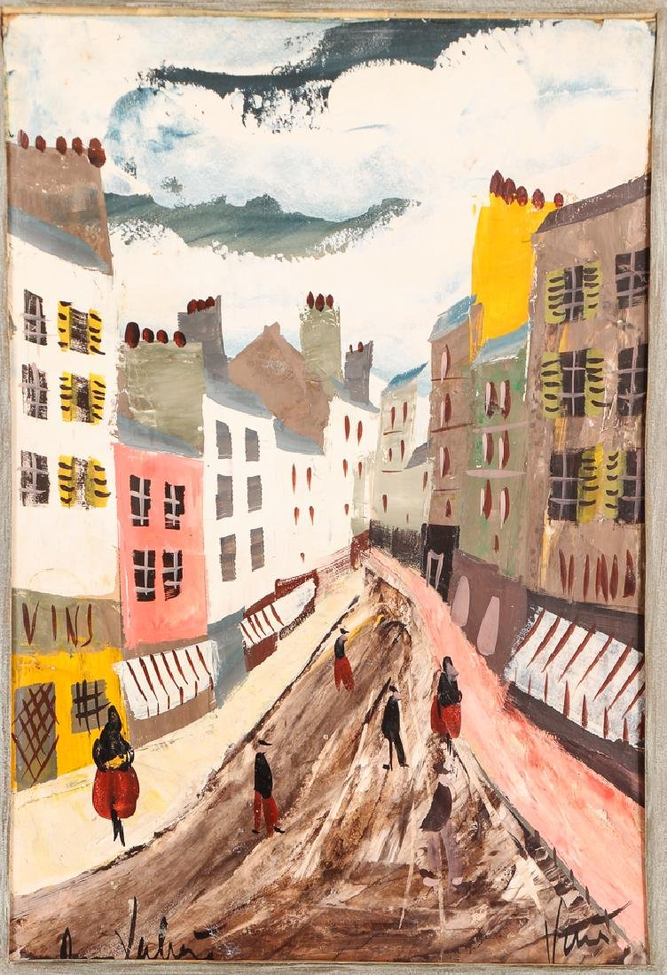 Charles Levier 1950'2 ptg.  Street in Paris