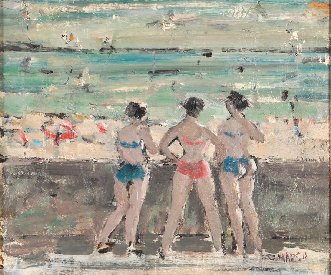 Marsh oil on cardboard Seawall with Bikini Clad Bathers
