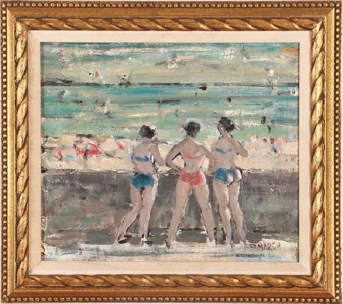 Marsh oil on cardboard Seawall with Bikini Clad Bathers - 2
