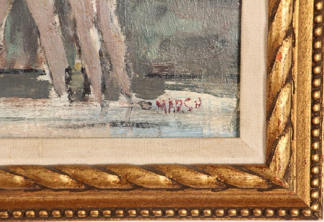 Marsh oil on cardboard Seawall with Bikini Clad Bathers - 3