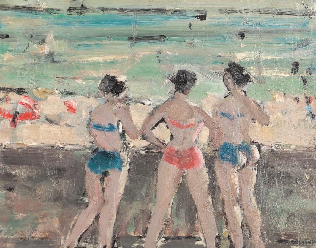 Marsh oil on cardboard Seawall with Bikini Clad Bathers - 4
