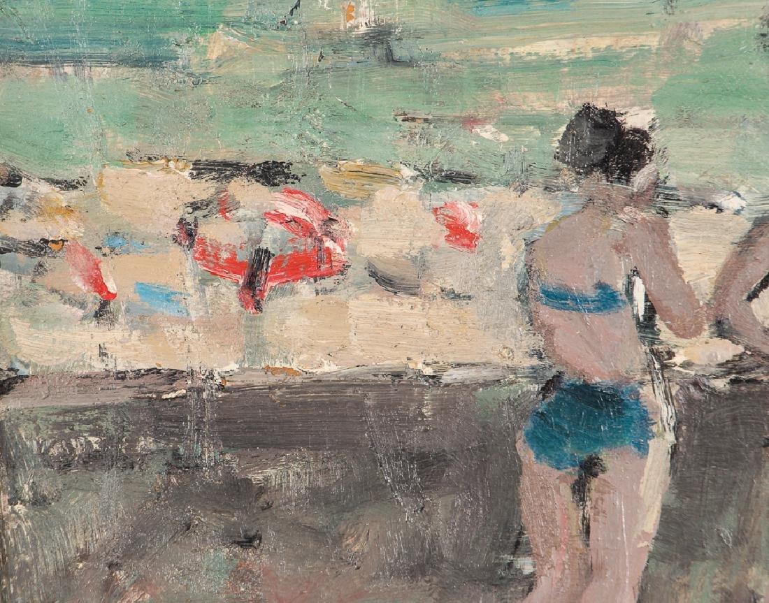 Marsh oil on cardboard Seawall with Bikini Clad Bathers - 5