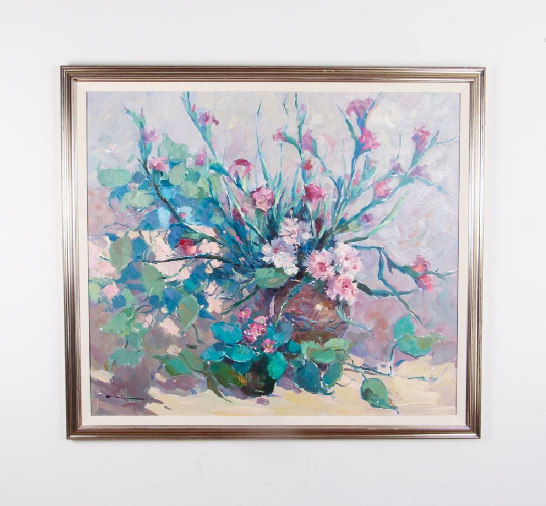 Ramon Orrit Gladiolas Acrylic Painting - 2