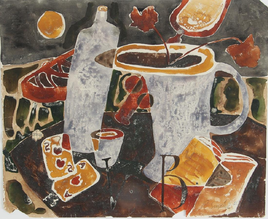 Russel Snyder watercolor Still Life with Playing Cards