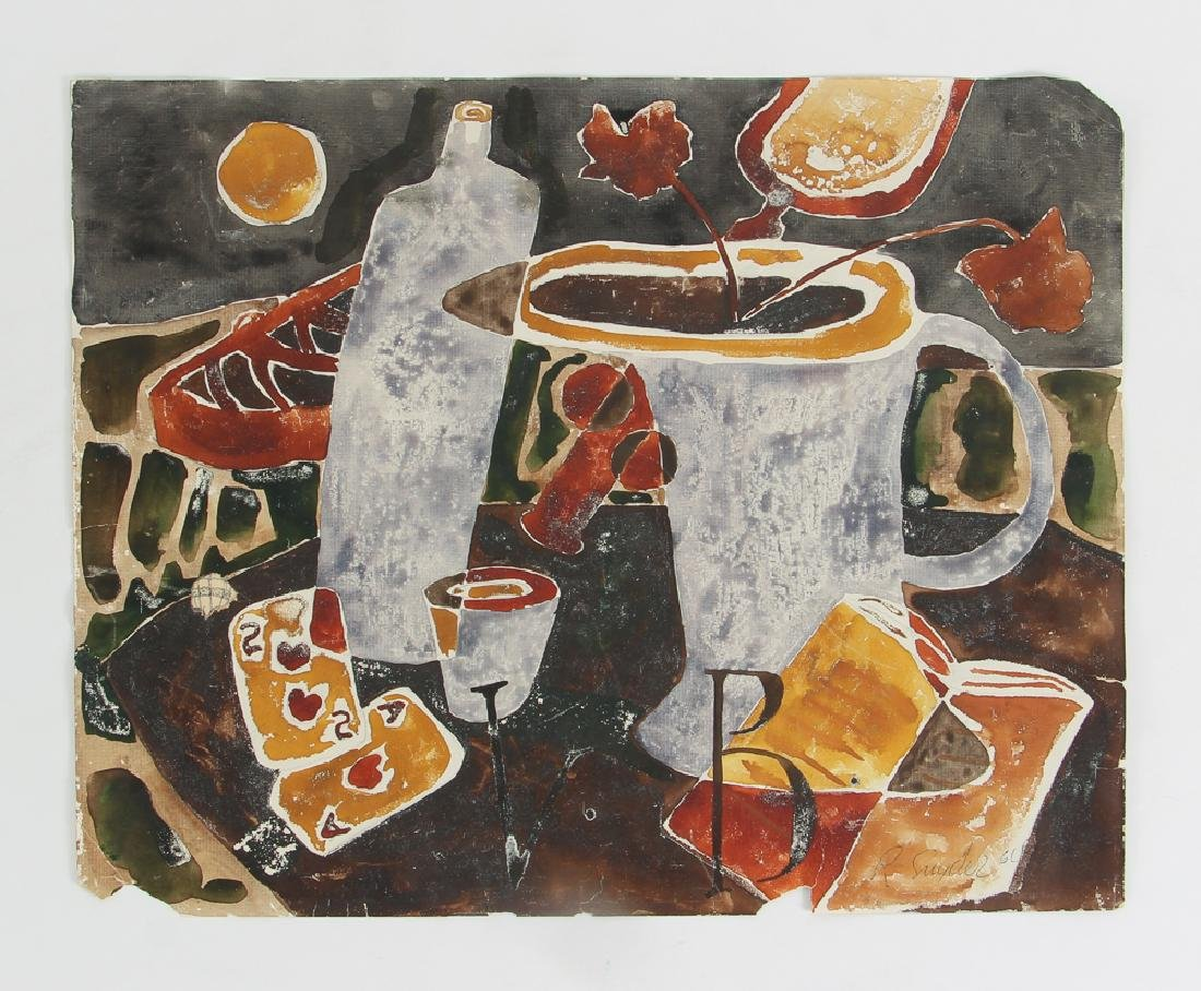 Russel Snyder watercolor Still Life with Playing Cards - 2