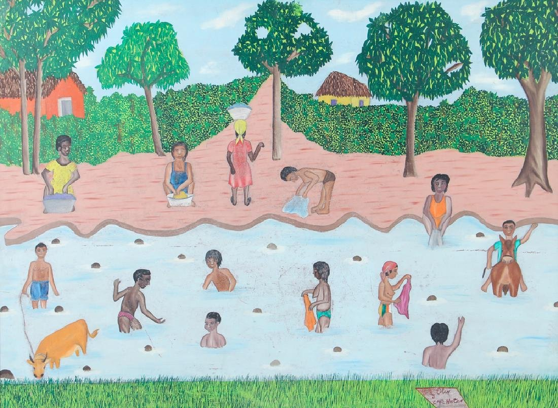 Sully Obin Untitled Haitian Bathing Scene